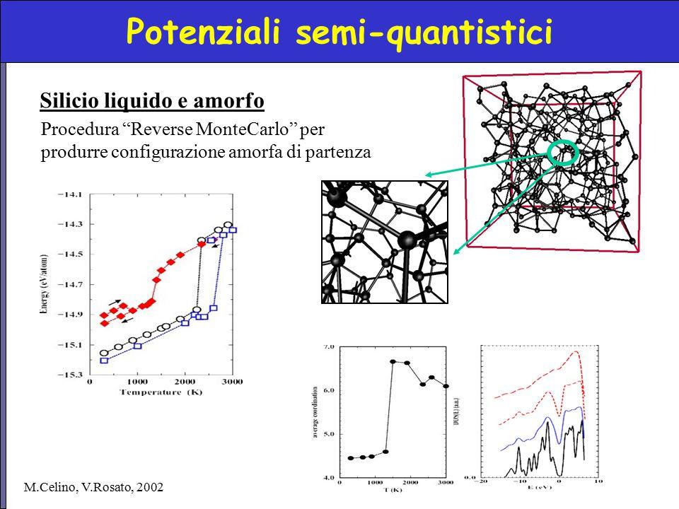 """Potenziali semi-quantistici Silicio liquido e amorfo Procedura """"Reverse MonteCarlo"""" per produrre configurazione amorfa di partenza M.Celino, V.Rosato,"""