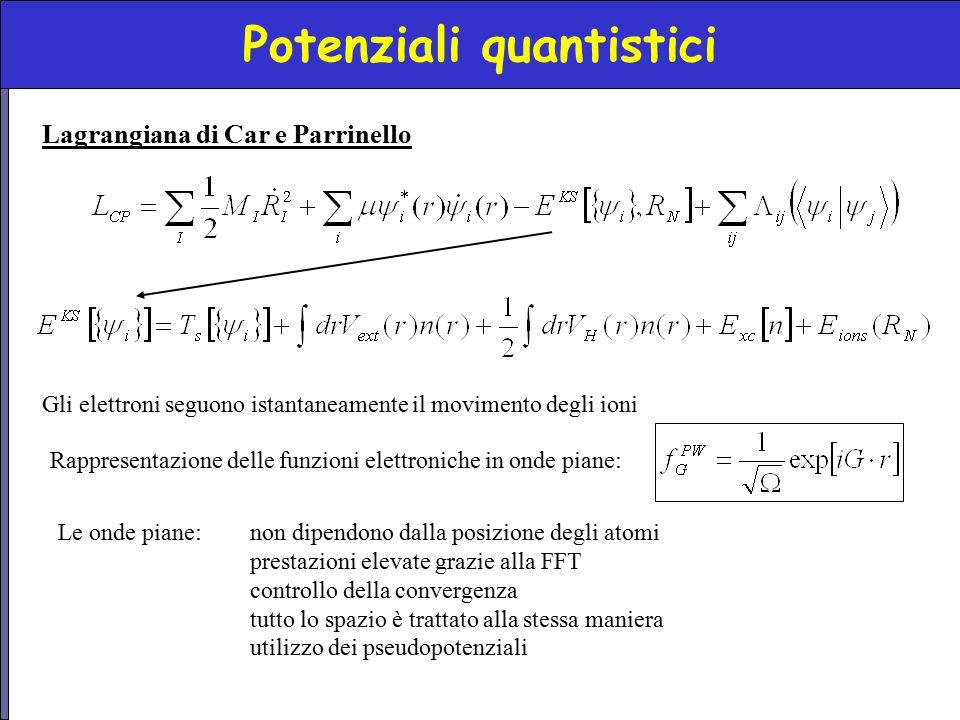 Potenziali quantistici Lagrangiana di Car e Parrinello Gli elettroni seguono istantaneamente il movimento degli ioni Rappresentazione delle funzioni e
