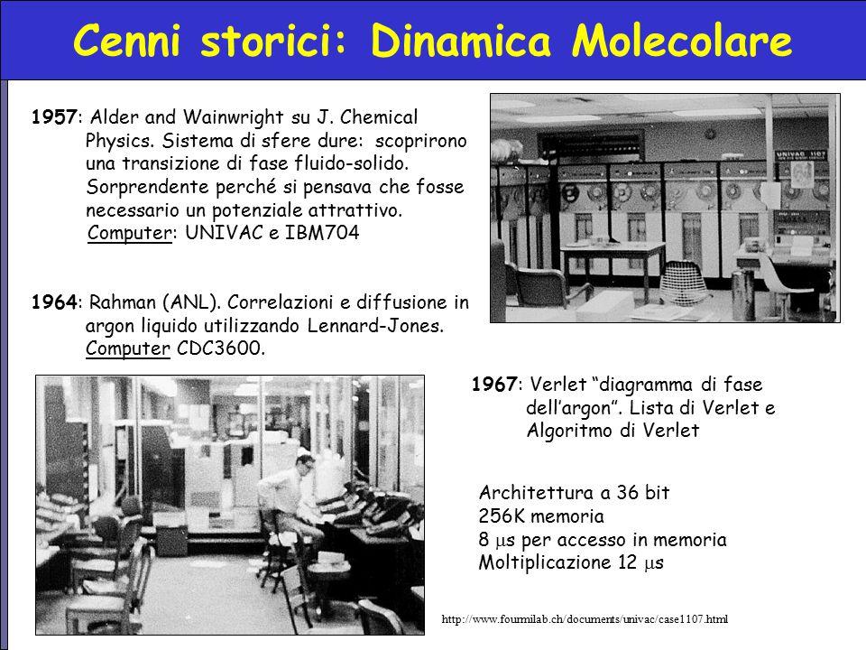 Cenni storici: Dinamica Molecolare 1957: Alder and Wainwright su J. Chemical Physics. Sistema di sfere dure: scoprirono una transizione di fase fluido