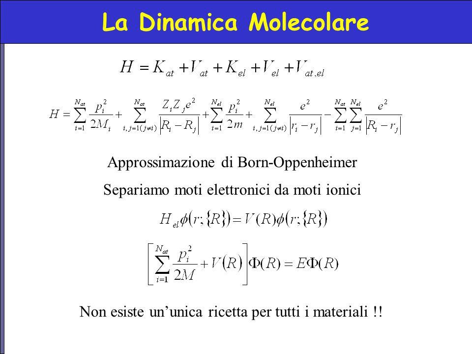 La Dinamica Molecolare Non esiste un'unica ricetta per tutti i materiali !! Approssimazione di Born-Oppenheimer Separiamo moti elettronici da moti ion