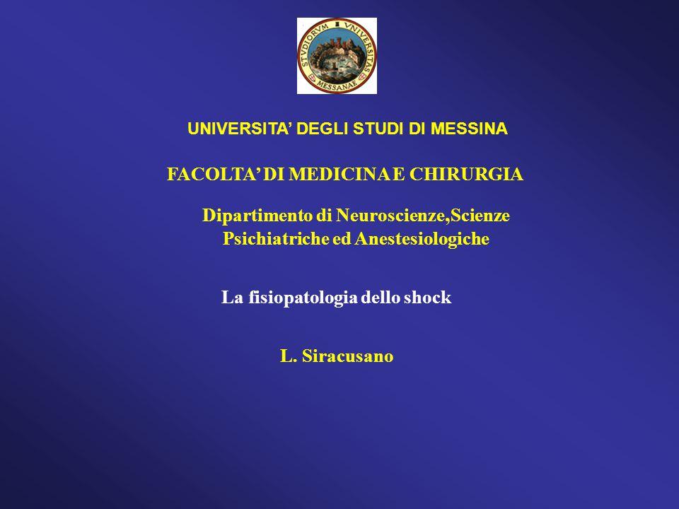 FACOLTA' DI MEDICINA E CHIRURGIA L. Siracusano UNIVERSITA' DEGLI STUDI DI MESSINA La fisiopatologia dello shock Dipartimento di Neuroscienze, Scienze