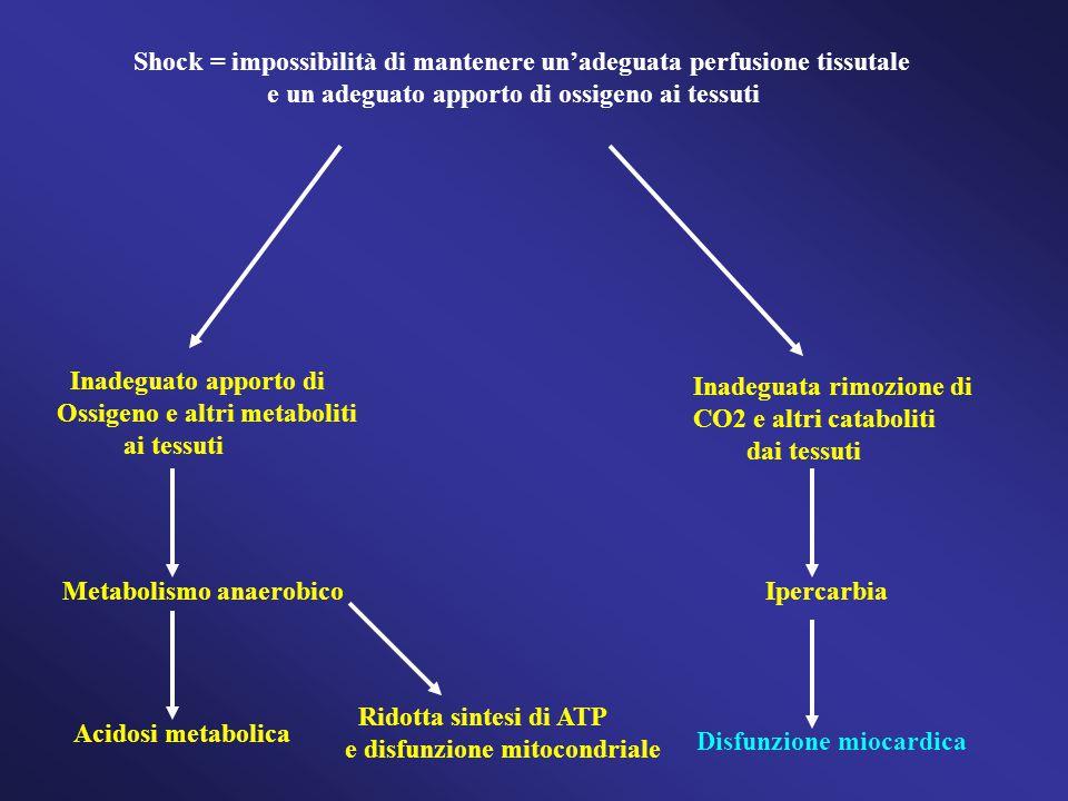 Shock = impossibilità di mantenere un'adeguata perfusione tissutale e un adeguato apporto di ossigeno ai tessuti Inadeguato apporto di Ossigeno e altri metaboliti ai tessuti Inadeguata rimozione di CO2 e altri cataboliti dai tessuti Metabolismo anaerobico Acidosi metabolica Ridotta sintesi di ATP e disfunzione mitocondriale Ipercarbia Disfunzione miocardica