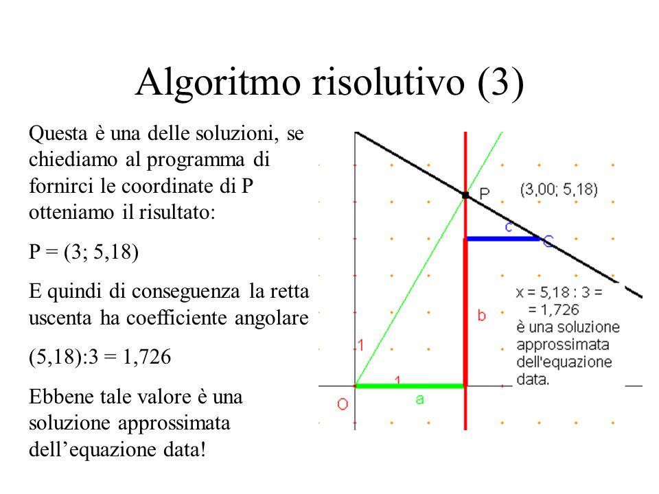 Algoritmo risolutivo (3) Questa è una delle soluzioni, se chiediamo al programma di fornirci le coordinate di P otteniamo il risultato: P = (3; 5,18)