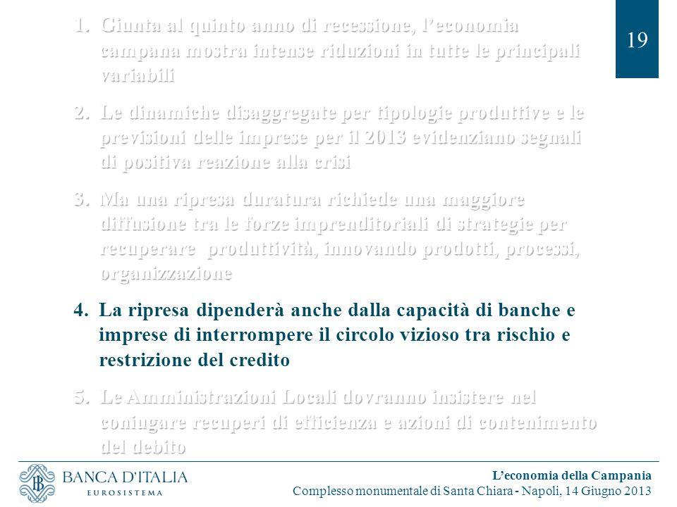 19 L'economia della Campania Complesso monumentale di Santa Chiara - Napoli, 14 Giugno 2013