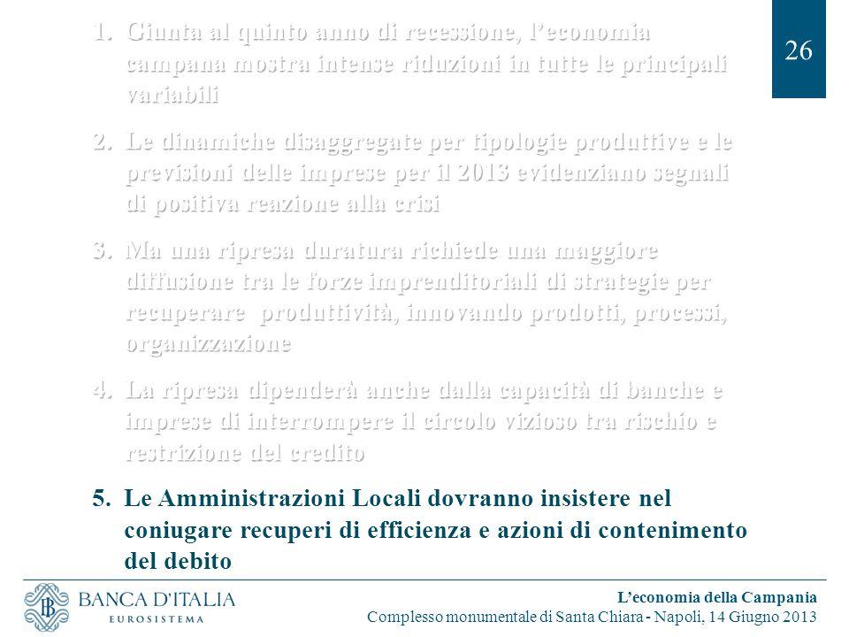26 L'economia della Campania Complesso monumentale di Santa Chiara - Napoli, 14 Giugno 2013