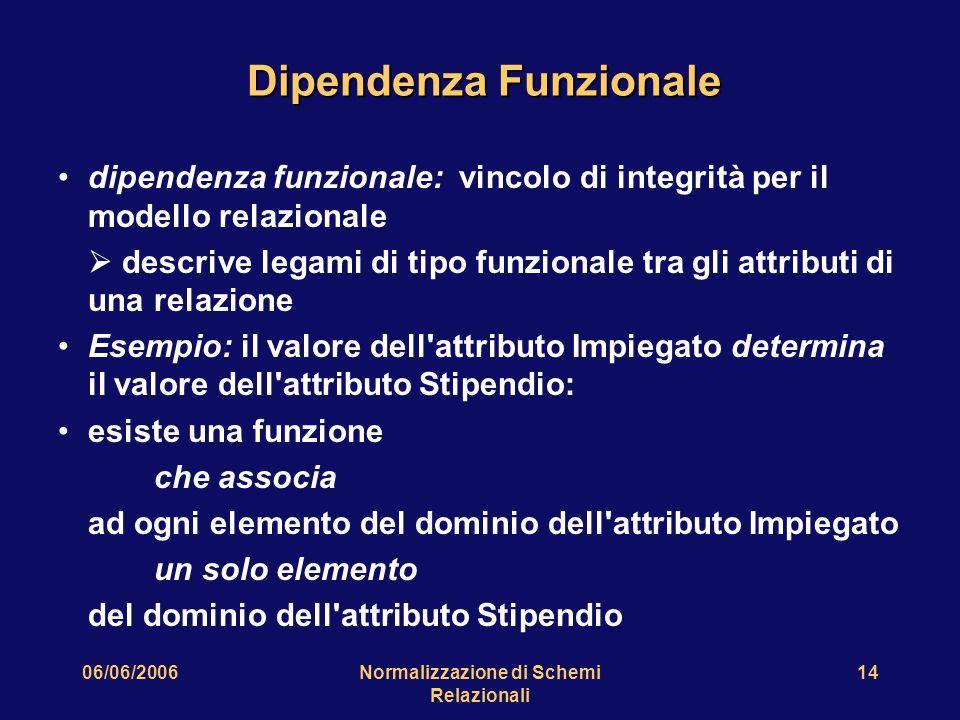 06/06/2006Normalizzazione di Schemi Relazionali 14 Dipendenza Funzionale dipendenza funzionale: vincolo di integrità per il modello relazionale  desc