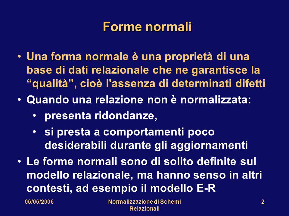 06/06/2006Normalizzazione di Schemi Relazionali 2 Forme normali Una forma normale è una proprietà di una base di dati relazionale che ne garantisce la