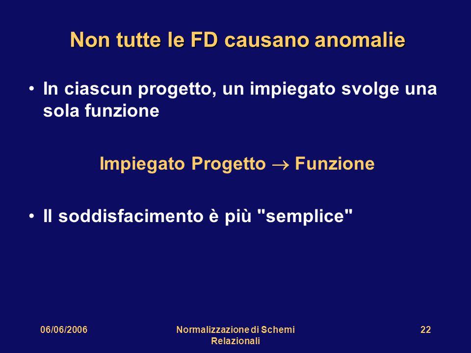 06/06/2006Normalizzazione di Schemi Relazionali 22 Non tutte le FD causano anomalie In ciascun progetto, un impiegato svolge una sola funzione Impiegato Progetto  Funzione Il soddisfacimento è più semplice