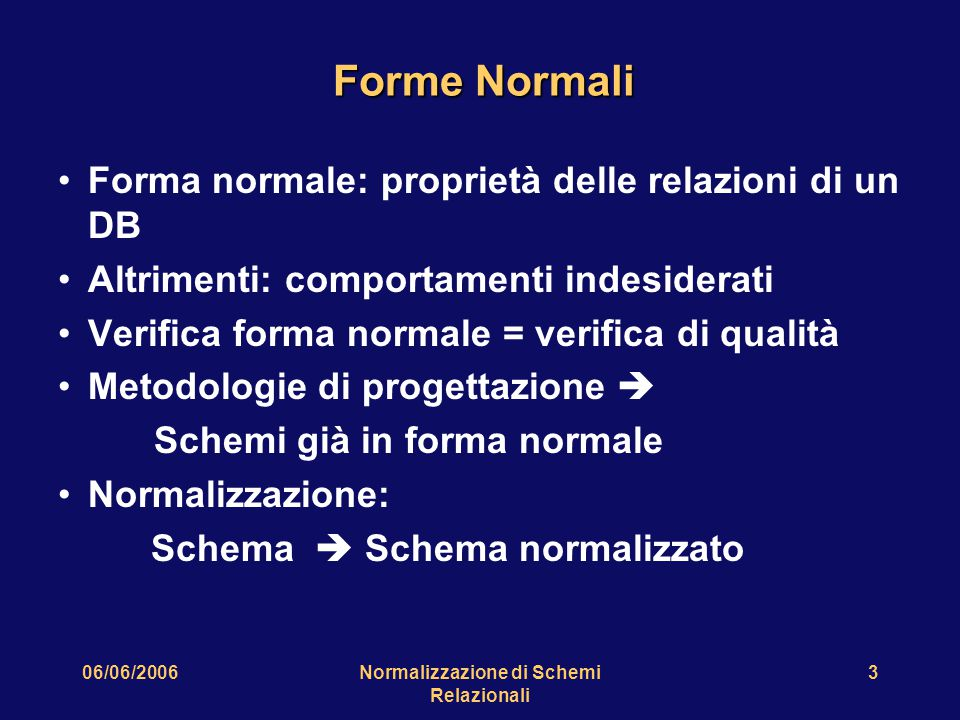 06/06/2006Normalizzazione di Schemi Relazionali 3 Forme Normali Forma normale: proprietà delle relazioni di un DB Altrimenti: comportamenti indesiderati Verifica forma normale = verifica di qualità Metodologie di progettazione  Schemi già in forma normale Normalizzazione: Schema  Schema normalizzato