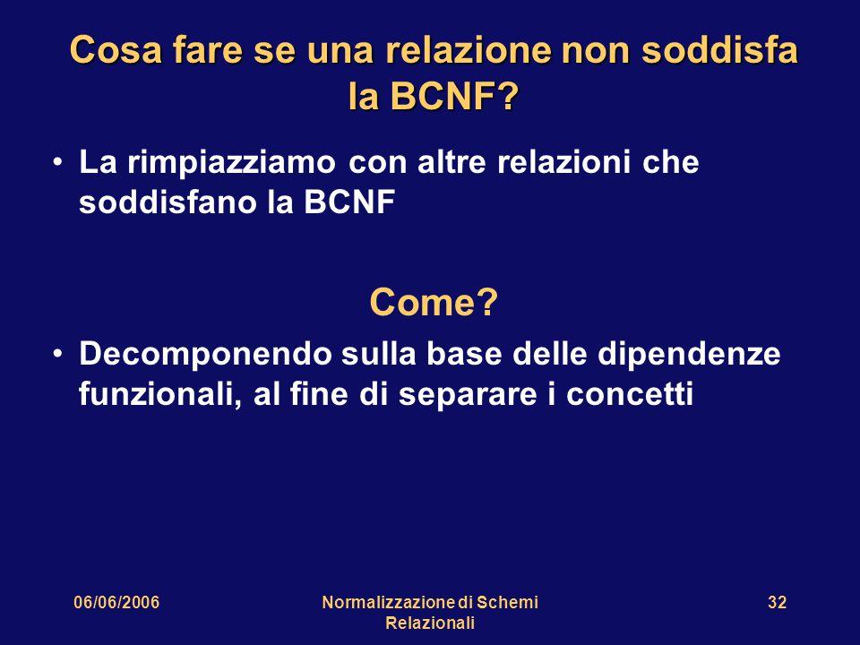 06/06/2006Normalizzazione di Schemi Relazionali 32 Cosa fare se una relazione non soddisfa la BCNF? La rimpiazziamo con altre relazioni che soddisfano