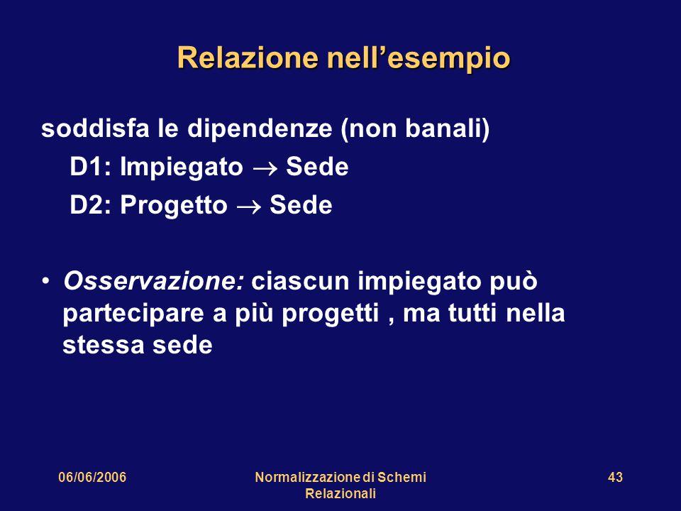 06/06/2006Normalizzazione di Schemi Relazionali 43 Relazione nell'esempio soddisfa le dipendenze (non banali) D1: Impiegato  Sede D2: Progetto  Sede