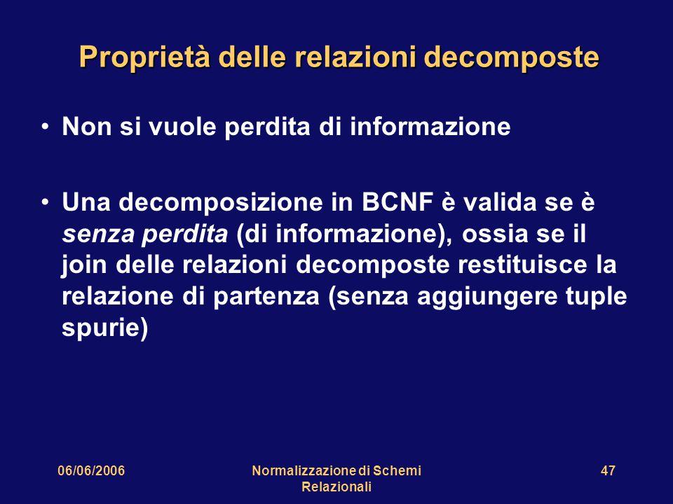 06/06/2006Normalizzazione di Schemi Relazionali 47 Proprietà delle relazioni decomposte Non si vuole perdita di informazione Una decomposizione in BCN
