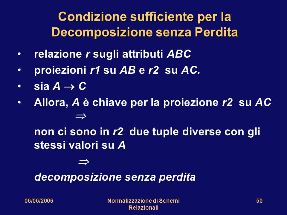 06/06/2006Normalizzazione di Schemi Relazionali 50 Condizione sufficiente per la Decomposizione senza Perdita relazione r sugli attributi ABC proiezioni r1 su AB e r2 su AC.