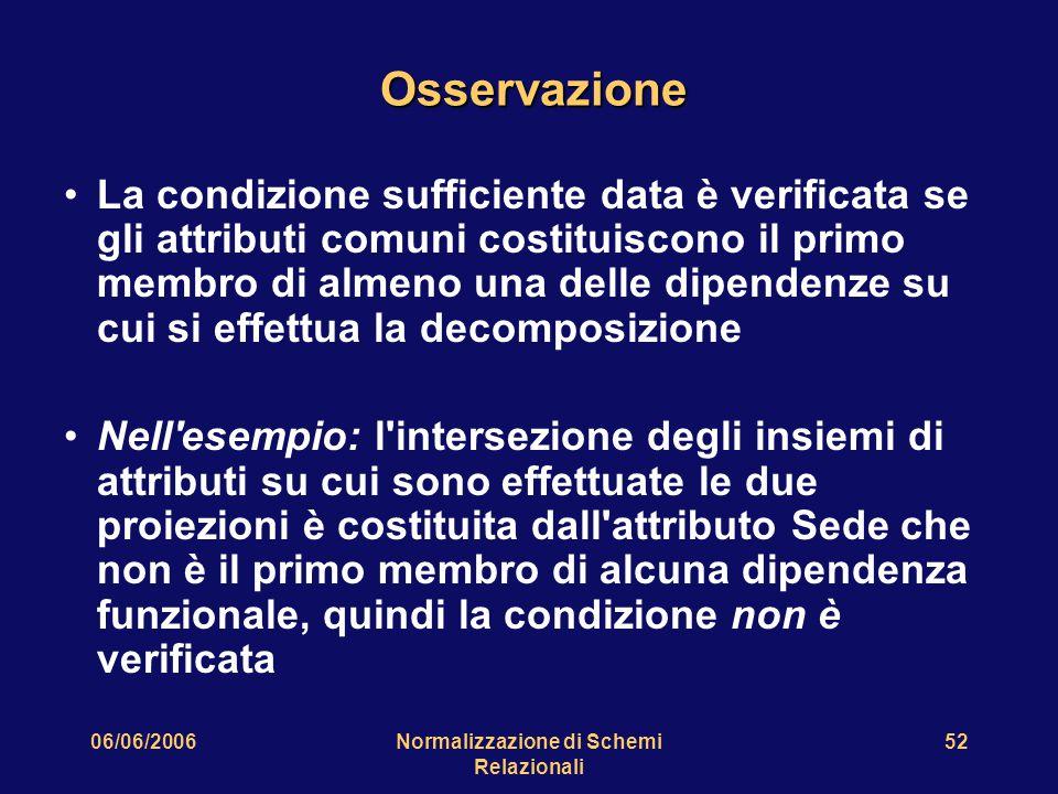 06/06/2006Normalizzazione di Schemi Relazionali 52 Osservazione La condizione sufficiente data è verificata se gli attributi comuni costituiscono il p