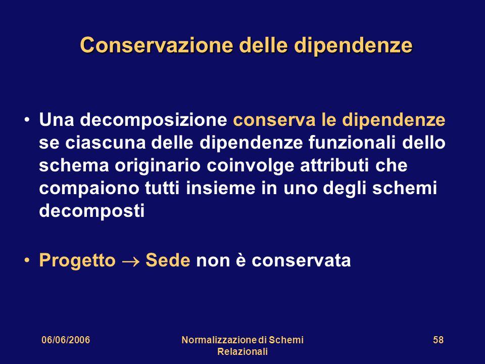 06/06/2006Normalizzazione di Schemi Relazionali 58 Conservazione delle dipendenze Una decomposizione conserva le dipendenze se ciascuna delle dipenden