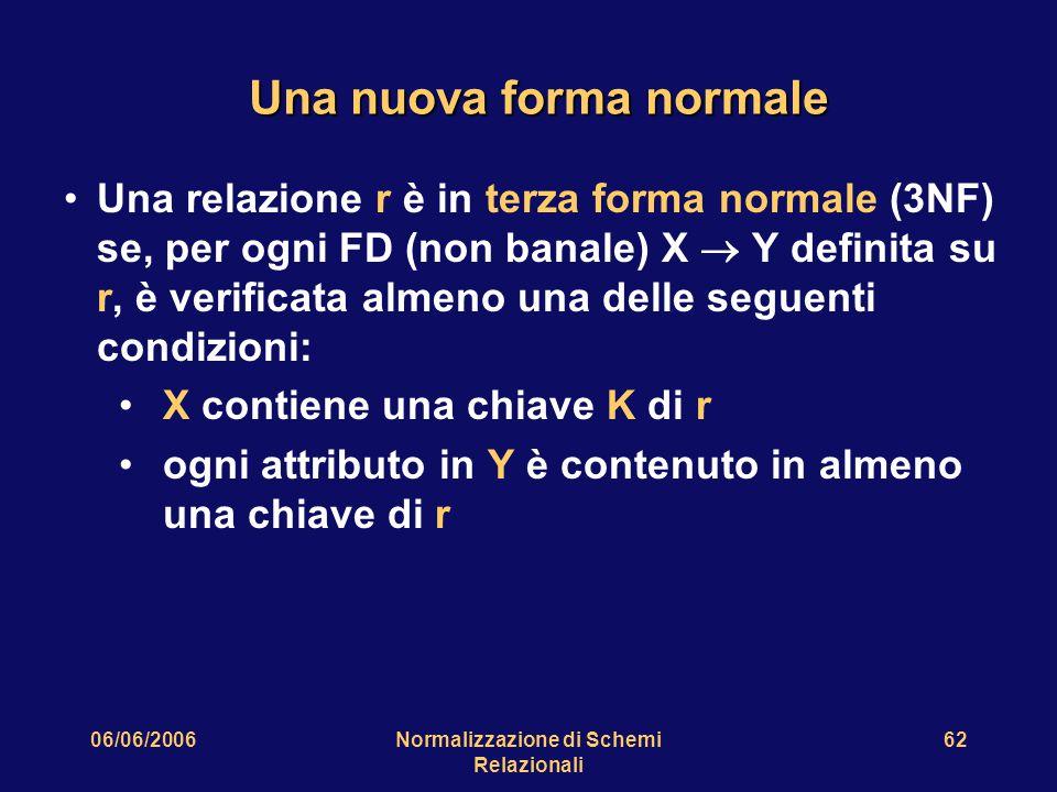 06/06/2006Normalizzazione di Schemi Relazionali 62 Una nuova forma normale Una relazione r è in terza forma normale (3NF) se, per ogni FD (non banale) X  Y definita su r, è verificata almeno una delle seguenti condizioni: X contiene una chiave K di r ogni attributo in Y è contenuto in almeno una chiave di r