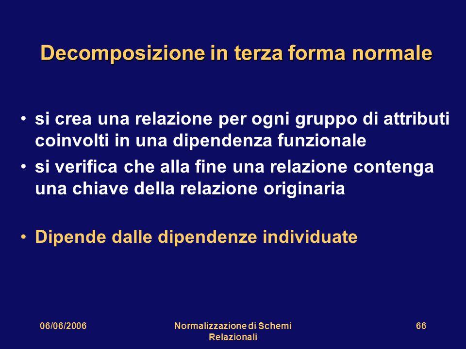 06/06/2006Normalizzazione di Schemi Relazionali 66 Decomposizione in terza forma normale si crea una relazione per ogni gruppo di attributi coinvolti