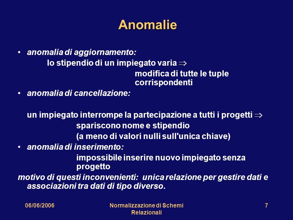 06/06/2006Normalizzazione di Schemi Relazionali 7 Anomalie anomalia di aggiornamento: lo stipendio di un impiegato varia  modifica di tutte le tuple
