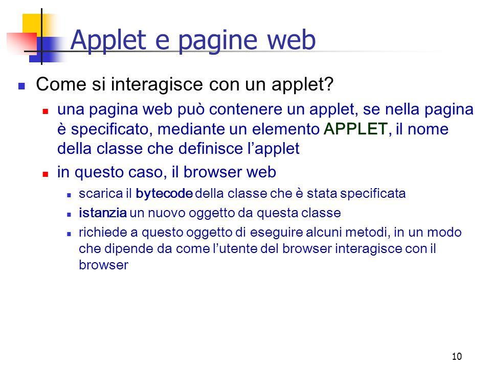10 Applet e pagine web Come si interagisce con un applet.