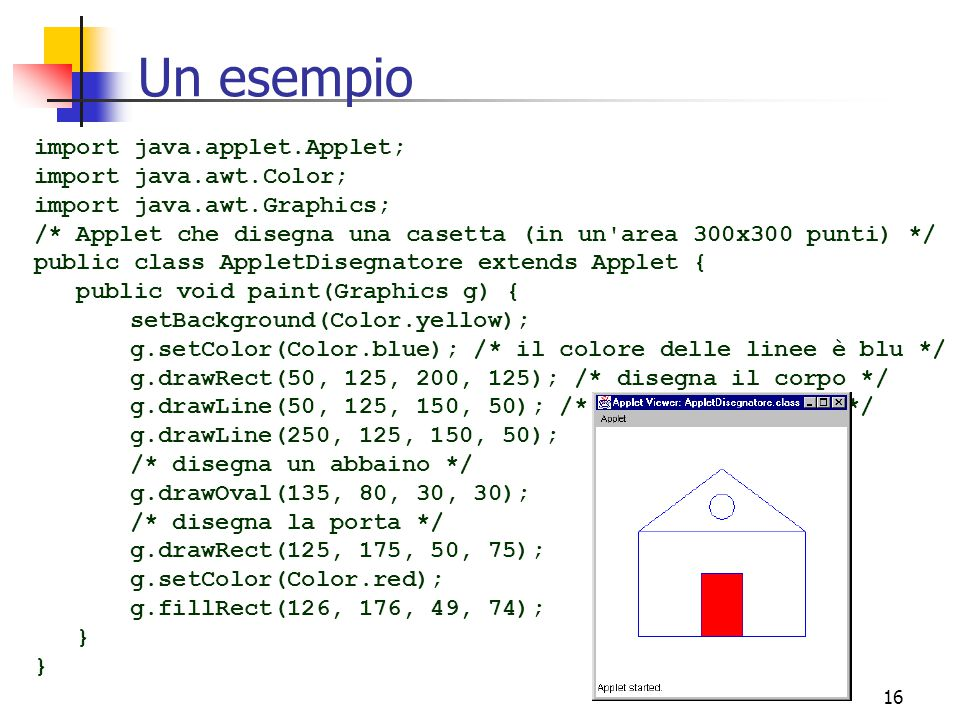 16 Un esempio import java.applet.Applet; import java.awt.Color; import java.awt.Graphics; /* Applet che disegna una casetta (in un area 300x300 punti) */ public class AppletDisegnatore extends Applet { public void paint(Graphics g) { setBackground(Color.yellow); g.setColor(Color.blue); /* il colore delle linee è blu */ g.drawRect(50, 125, 200, 125); /* disegna il corpo */ g.drawLine(50, 125, 150, 50); /* disegna il tetto */ g.drawLine(250, 125, 150, 50); /* disegna un abbaino */ g.drawOval(135, 80, 30, 30); /* disegna la porta */ g.drawRect(125, 175, 50, 75); g.setColor(Color.red); g.fillRect(126, 176, 49, 74); }