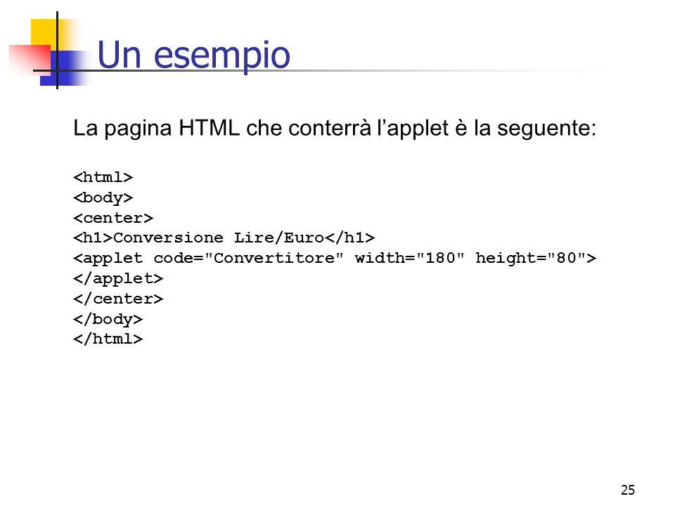 25 Un esempio La pagina HTML che conterrà l'applet è la seguente: Conversione Lire/Euro