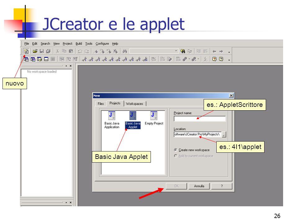 26 JCreator e le applet nuovo Basic Java Applet es.: AppletScrittore es.: 4I1\applet