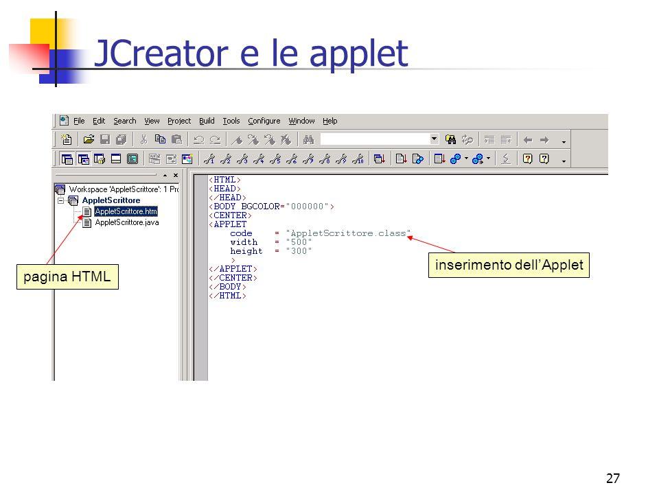 27 JCreator e le applet pagina HTML inserimento dell'Applet