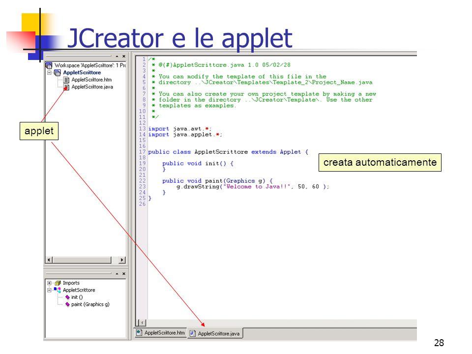 28 JCreator e le applet applet creata automaticamente