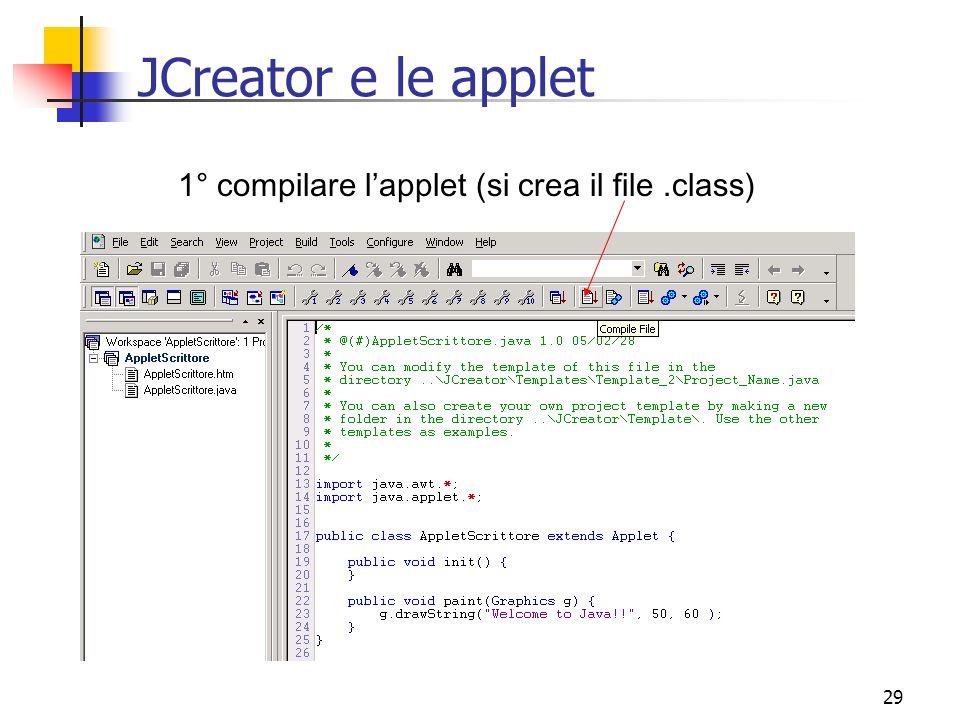 29 JCreator e le applet 1° compilare l'applet (si crea il file.class)
