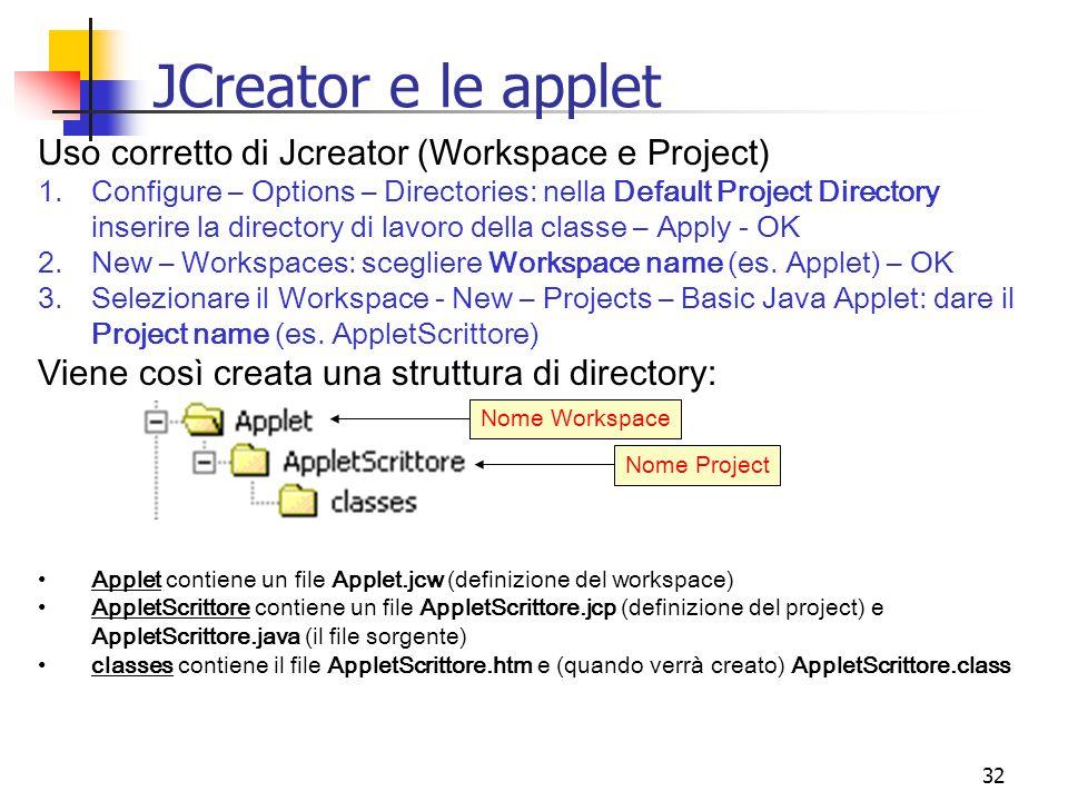 32 JCreator e le applet Uso corretto di Jcreator (Workspace e Project) 1.Configure – Options – Directories: nella Default Project Directory inserire la directory di lavoro della classe – Apply - OK 2.New – Workspaces: scegliere Workspace name (es.