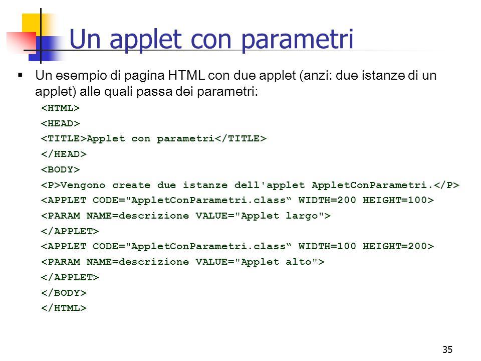 35  Un esempio di pagina HTML con due applet (anzi: due istanze di un applet) alle quali passa dei parametri: Applet con parametri Vengono create due istanze dell applet AppletConParametri.