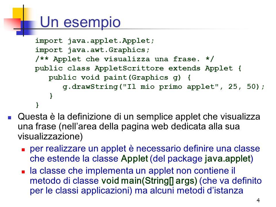 4 Un esempio Questa è la definizione di un semplice applet che visualizza una frase (nell'area della pagina web dedicata alla sua visualizzazione) per realizzare un applet è necessario definire una classe che estende la classe Applet (del package java.applet) la classe che implementa un applet non contiene il metodo di classe void main(String[] args) (che va definito per le classi applicazioni) ma alcuni metodi d'istanza import java.applet.Applet; import java.awt.Graphics; /** Applet che visualizza una frase.