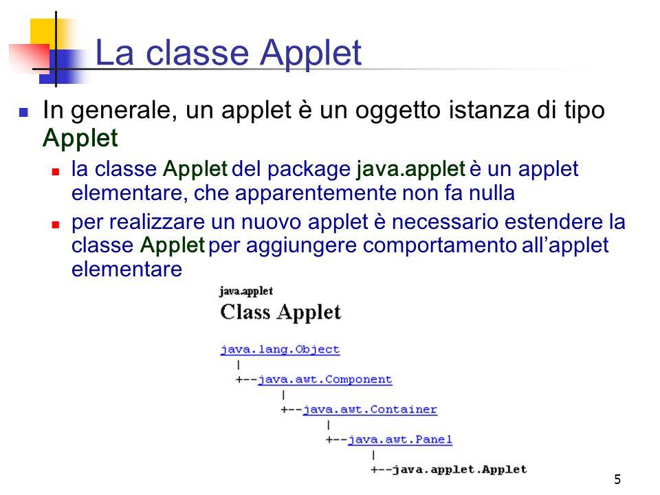 5 La classe Applet In generale, un applet è un oggetto istanza di tipo Applet la classe Applet del package java.applet è un applet elementare, che apparentemente non fa nulla per realizzare un nuovo applet è necessario estendere la classe Applet per aggiungere comportamento all'applet elementare