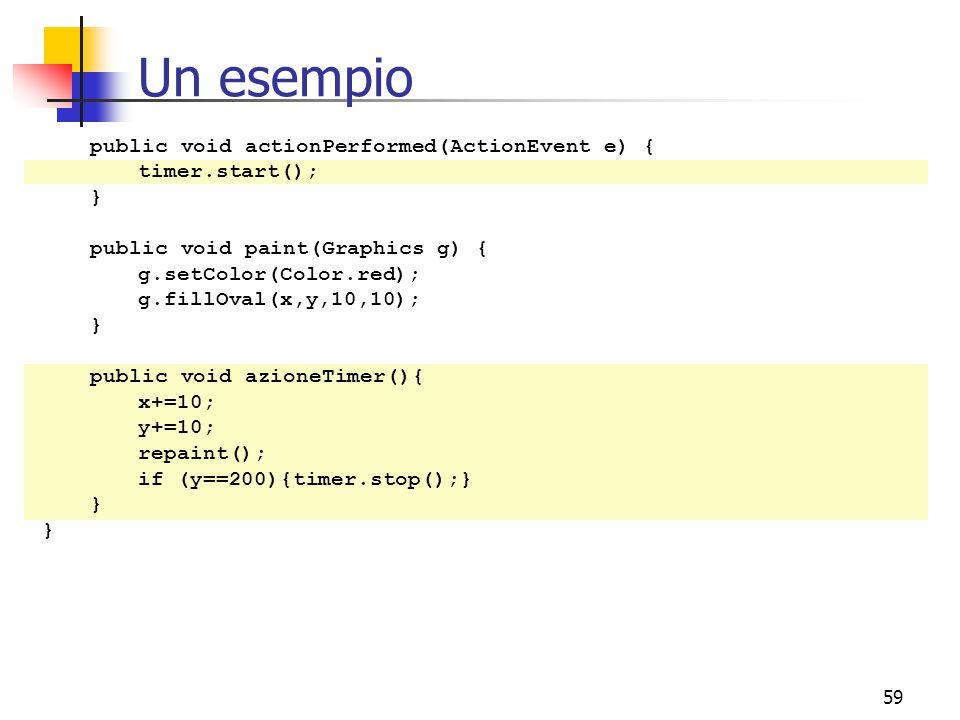 59 Un esempio public void actionPerformed(ActionEvent e) { timer.start(); } public void paint(Graphics g) { g.setColor(Color.red); g.fillOval(x,y,10,10); } public void azioneTimer(){ x+=10; y+=10; repaint(); if (y==200){timer.stop();} }