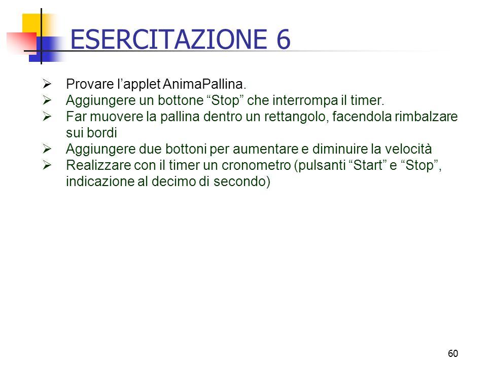60 ESERCITAZIONE 6  Provare l'applet AnimaPallina.