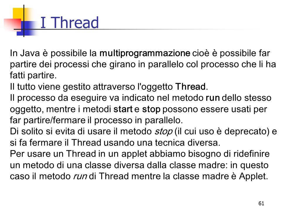 61 I Thread In Java è possibile la multiprogrammazione cioè è possibile far partire dei processi che girano in parallelo col processo che li ha fatti partire.
