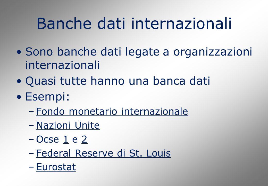 Banche dati internazionali Sono banche dati legate a organizzazioni internazionali Quasi tutte hanno una banca dati Esempi: –Fondo monetario internazi