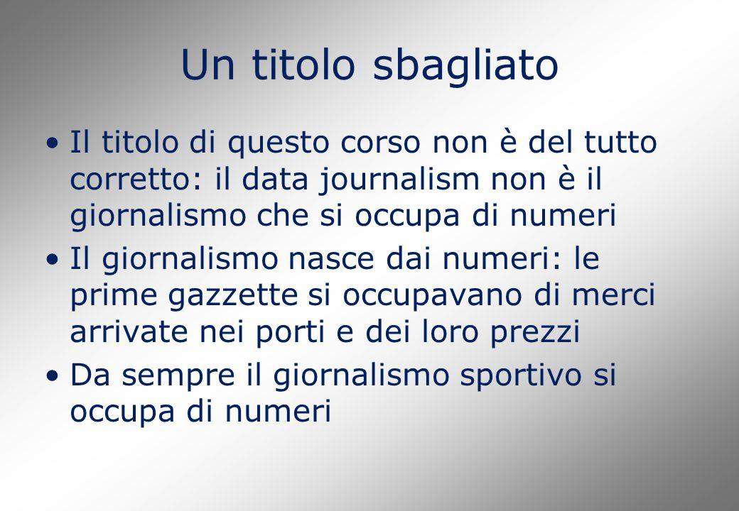 Un titolo sbagliato Il titolo di questo corso non è del tutto corretto: il data journalism non è il giornalismo che si occupa di numeri Il giornalismo
