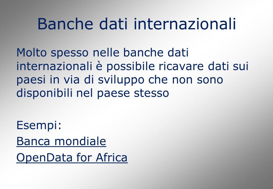 Banche dati internazionali Molto spesso nelle banche dati internazionali è possibile ricavare dati sui paesi in via di sviluppo che non sono disponibi