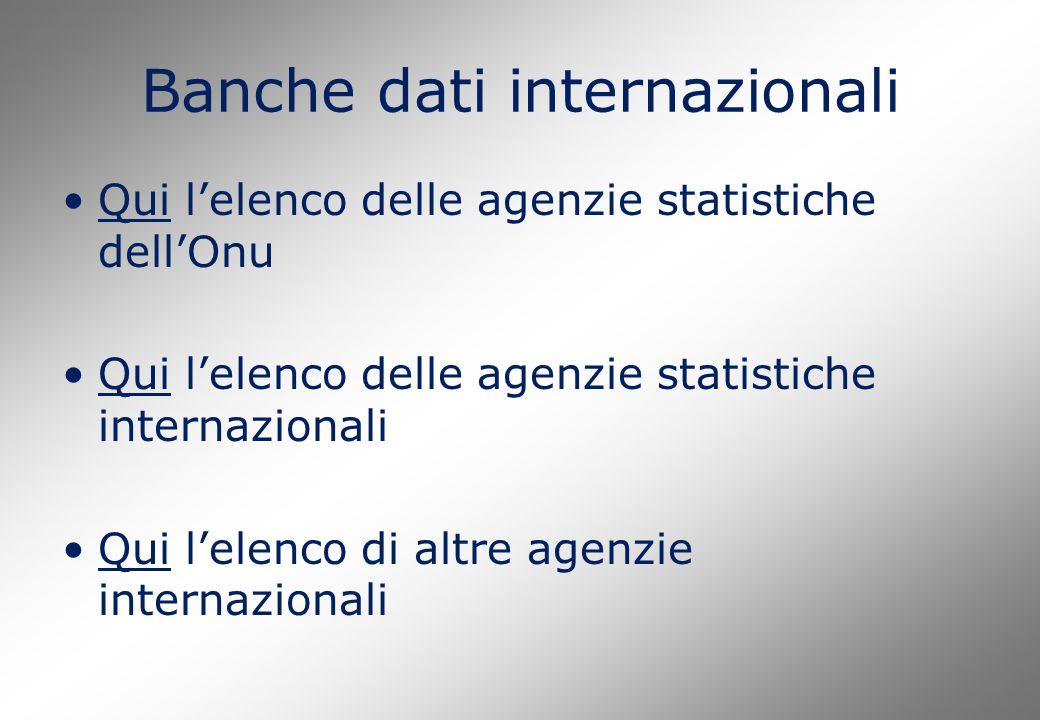 Banche dati internazionali Qui l'elenco delle agenzie statistiche dell'OnuQui Qui l'elenco delle agenzie statistiche internazionaliQui Qui l'elenco di