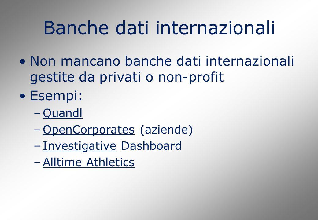 Banche dati internazionali Non mancano banche dati internazionali gestite da privati o non-profit Esempi: –QuandlQuandl –OpenCorporates (aziende)OpenC