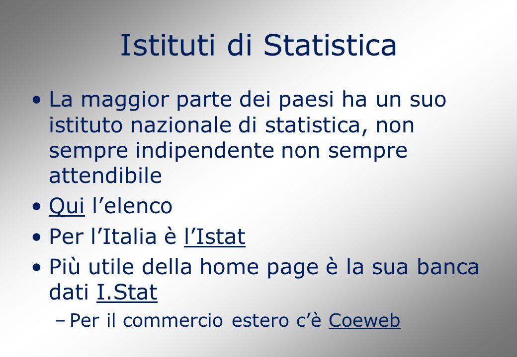 Istituti di Statistica La maggior parte dei paesi ha un suo istituto nazionale di statistica, non sempre indipendente non sempre attendibile Qui l'ele
