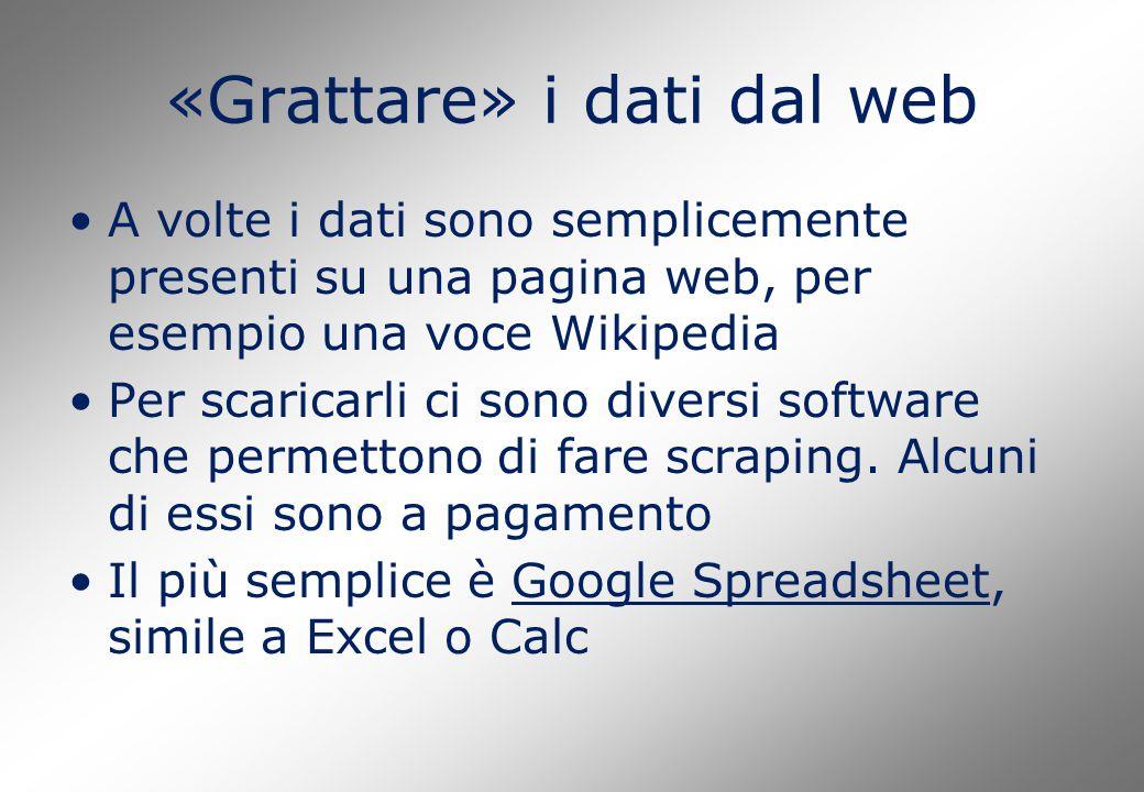 «Grattare» i dati dal web A volte i dati sono semplicemente presenti su una pagina web, per esempio una voce Wikipedia Per scaricarli ci sono diversi