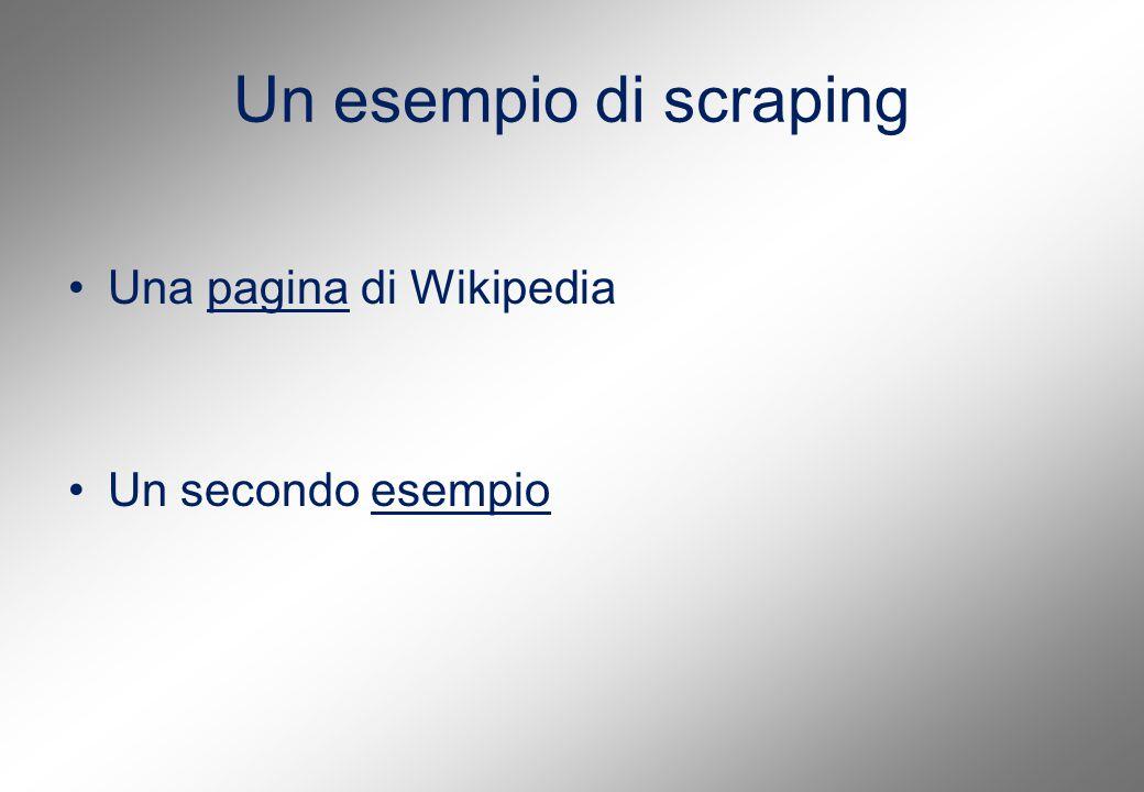 Un esempio di scraping Una pagina di Wikipediapagina Un secondo esempioesempio