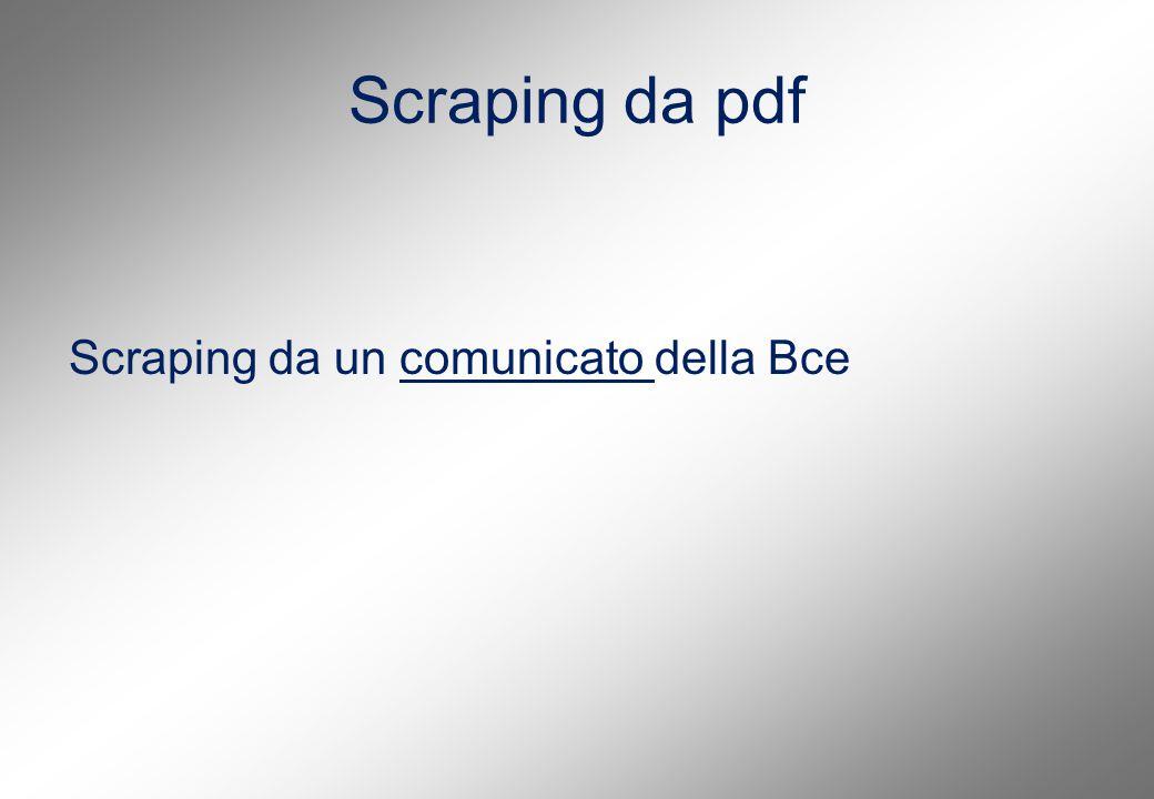 Scraping da pdf Scraping da un comunicato della Bcecomunicato