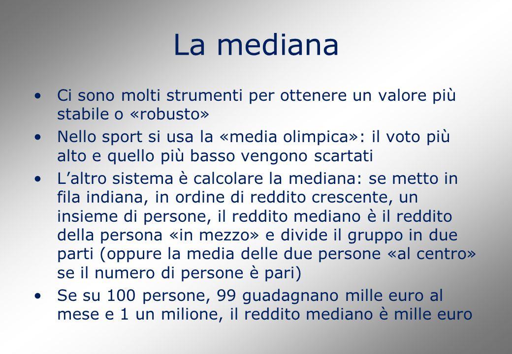 La mediana Ci sono molti strumenti per ottenere un valore più stabile o «robusto» Nello sport si usa la «media olimpica»: il voto più alto e quello pi