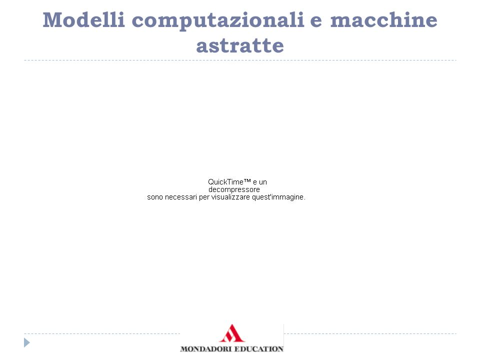 Problemi, algoritmi e modelli computazionali L'esecutore non deve essere pensato necessariamente come una macchina fisica, ad esempio, l'attuale computer.