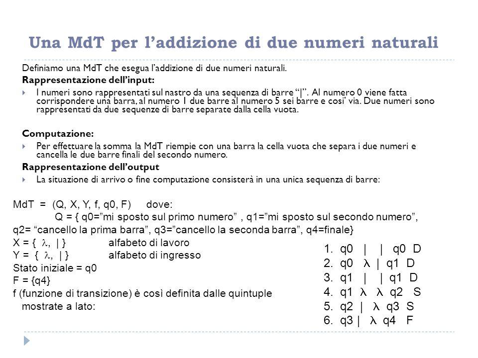 Una MdT per l'addizione di due numeri naturali Definiamo una MdT che esegua l'addizione di due numeri naturali. Rappresentazione dell'input:  I numer