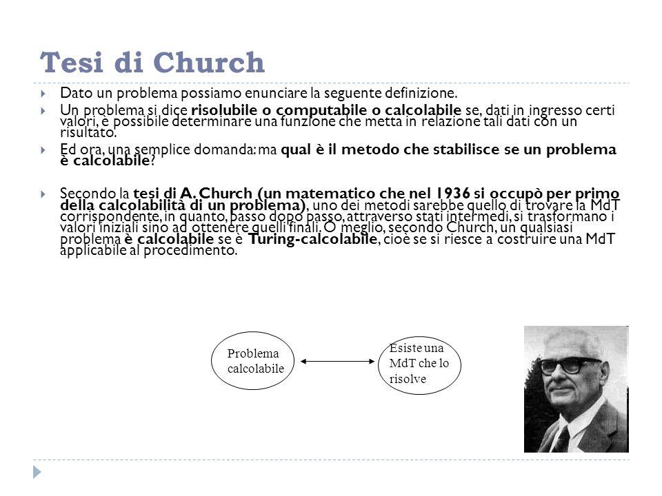 Tesi di Church  Dato un problema possiamo enunciare la seguente definizione.  Un problema si dice risolubile o computabile o calcolabile se, dati in