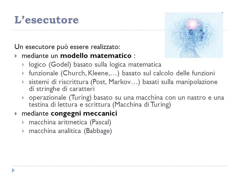 L'esecutore Un esecutore può essere realizzato:  mediante un modello matematico :  logico (Godel) basato sulla logica matematica  funzionale (Churc